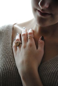 vintage maritim ring • golden anchor button • by www.annundfuermich.de #jewellery #jewelry