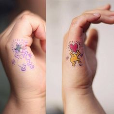 Keith Haring inspired cover up tattoo on the right hand. Tattoo...