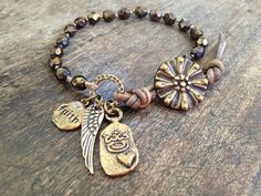 """Wing and a Prayer, """"Faith"""" Hand Knotted Wrap Bracelet, Bronze Cross Crown Heart"""