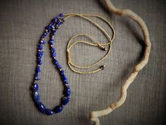 Blue Lapis lazuli necklace with brass beads by EvisHandmadeJewels Gemstone Necklace, Beaded Necklace, Lapis Lazuli, Boho Chic, Wax, Brass, Jewels, Gemstones, Unique Jewelry