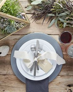 Aspen Dinner Plate - Crate and Barrel Aspen, Crate And Barrel Registry, Wedding Place Settings, 100 Layer Cake, Rustic Table, Wedding Table, Wedding 2017, Wedding Reception, Wedding Venues