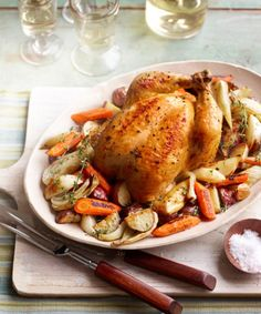 Seasoned with garlic and thyme, surrounded with spuds and root veggies, this no-baste bird is ready in under an hour. Check out the recipe for this roasted dish.