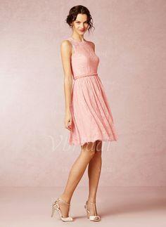Bridesmaid Dresses - $126.56 - A-Line/Princess Scoop Neck Knee-Length Lace Bridesmaid Dress (0075059684)