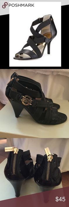 Michael Kors strappy black sandals Michael Kors. Genuine leather with signature MK on side of sandal. Patent leather by toe and stretchy leather straps.Worn lightly in great condition. No box or trades. Michael Kors Shoes Sandals