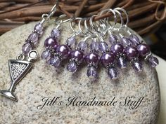 Snag Free Beaded Stitch Markers- Cocktail- Crochet Markers- Gift for Knitters