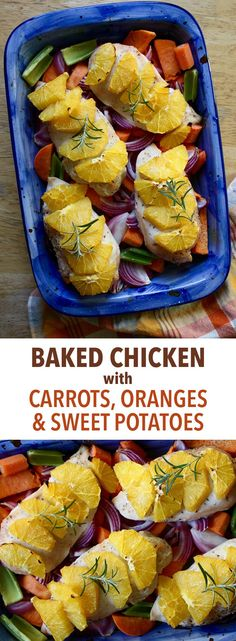 Baked Chicken with Carrots, Oranges, and Sweet Potatoes -- Bored with the same old chicken recipe? This baked dish adds a citrus zing that gives white meat tons of flavor, while keeping it succulent and tender. // lunches // dinners // high protein // healthy meals // one pot meals // beachbody blog