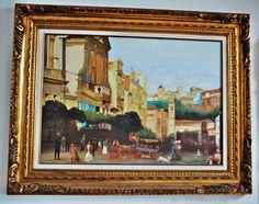 ÓLEO SOBRE TELA c/ assinatura JMS - Lindíssimo quadro retratando a paisagem de cidade antiga com o