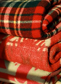 Beautiful red, cozy blankets for cabin!!!