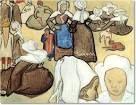 Vincent van Gogh, Donne Bretoni, 1888, acquerello, 47,5 cm x 62 cm, Civica Galleria d'Arte Moderna, Milano.  La scena era ispirata da un dipinto di Èmile Bernard, che lavorò lungamente in Bretagna con Gauguin. Egli fu uno dei creatori del Sintetismo, i cui assiomi sono ben visibili nella copia eseguita da Van Gogh. I  dettagli sono ridotti all'essenziale, le superfici appiattite dalla stesura cromatica e dall'uso della linea nera di contorno.