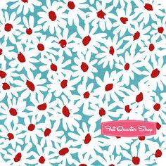 Aqua Red Turquoise Daisy Doolittle Yardage SKU# CX5090-TURQ-D - Fat Quarter Shop