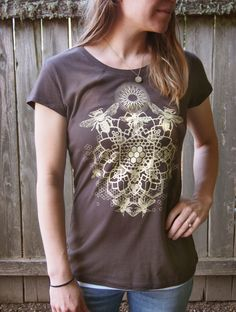 Heathered Chocolate Brown Bee Mandala T-shirt Printed in Light Honey Yellow on a Dark Brown Soft 100% Cotton Screen Printed Tee by Astrolaboratory on Etsy https://www.etsy.com/listing/230641954/heathered-chocolate-brown-bee-mandala-t
