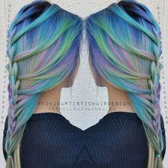 Unedited watercolor yumminess on my model Gorg braid created by… Cute Hair Colors, Cool Hair Color, Hair Colours, Crazy Hair, Weird Hair, Pastel, Love Hair, Gorgeous Hair, Dye My Hair