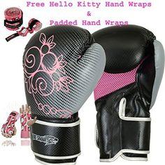 Ladies Pink Gel Boxing Gloves Bag Womens Gym Kick Pads MMA Mitts Muay Thai G (Pink, 4 Oz)