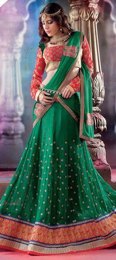 146498:Pick of the day - designer #Lehenga.  #Green #Bridal #Wedding #Partywear #Diwali #Sale #Onlineshopping #ethnic #Festive #Womenswear #bridesmaid