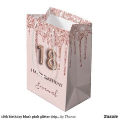 18th birthday blush pink glitter drips rose gold medium gift bag 50th Birthday Party For Women, 70th Birthday Parties, Happy Birthday, Birthday Roses, Pink Balloons, Rose Gold Glitter, Medium, Bag, Gifts