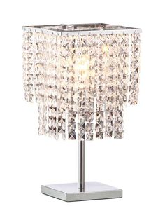 the falling stars tablelamp is an exercise in dazzle features a chrome finish