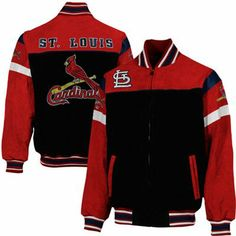 St. Louis Cardinals Knockout Full Zip Suede Jacket - Black/Red