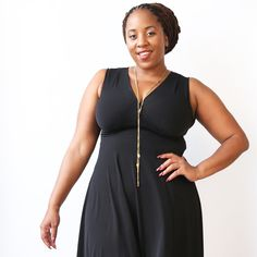 this sleeveless, v neck dress also features a v back. the full flared skirt is knee length with a waistband. machine wash cool, hang dry, no ironing ever needed! the audrey is an american made dress crafted with love in Brooklyn, NY