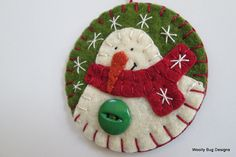 Classic Christmas Green and Red Colors, Wool Felt Ivory Snowman Ornament, Christmas Red Scarf, Big Green Button, Handstitched Snowflakes