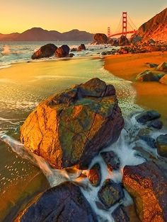 Amazing Photography !!! - Golden Sunset - Marshall Beach - Presidio of San Francisco - Golden Gate National Park, CA.