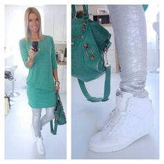 .@Regina Dukai |  #today #outfit #green #tallyweijl #nike #sugarbird #reginadukai #silver #bal... | Webstagram