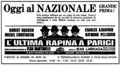 """L'ultima rapina a Parigi"" (La part des lions, 1963) di Jean Larriaga, con Robert Hossein e Charles Aznavour. Italian release: August 3rd, 1974 #MoviePosters"