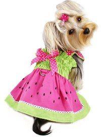 """Klippo Pet - Juicy Watermelon Sundress with D-Ring - Adorable and juicy watermelon sundress with attached large D-ring for easy leash attachment!  Accented with hot pink ribbon with white polka dots on the shoulder straps and a matching bow on the back.  A small D-Ring attached near the neck area to add on a """"Klippo"""" charm or ID tag! (Each outfit comes in its own Klippo logo charm.)."""