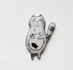 Items similar to grey cat and fish pin cat pin cat gifts animal brooch Animal pin Animal gifts cat jewelry animal jewelry animal lovers cat lovers pet gifts on Etsy Cat Gifts, Cat Lover Gifts, Gift For Lover, Cat Lovers, Lovers Gift, Cat Jewelry, Ceramic Jewelry, Animal Jewelry, Jewellery