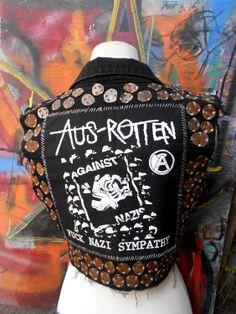 Crust Punk Aus-Rotten Smashed Penny Vest. $100.00, via Etsy.