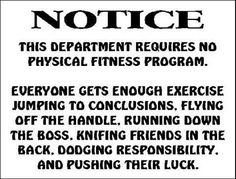 No exercise at work
