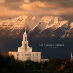 Payson Utah Temple with Mt Timpanogos in the background. More photos of this beautiful temple are available on our website. LDS Temple Pictures