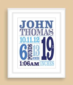Personalized Baby Birth Stats 8x10 by NatalieDesignStudio on Etsy, $19.00
