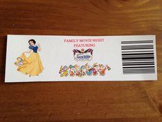 Our Snow White Movie Tickets - Snow White Movie Night - Disney Movie Night - Family Movie Night