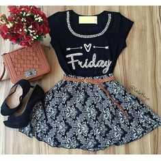 Al ultimo me decidí por esto; Cute Teen Outfits, Teen Fashion Outfits, Outfits For Teens, Trendy Outfits, Fashion Dresses, Fashion 101, Look Fashion, Girl Fashion, Cute Dresses