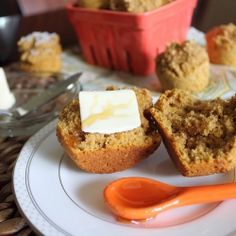 Whole Wheat Sweet Potato Banana Muffins. A savory muffins perfect for breakfast with butter or as a side to soup & chili!