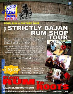 This tour exposes our guests to Traditional Rum Shops, Traditional Bajan (people), Traditional Food and Local Beverages. But even more, our 'visiting friends' have the opportunity to be part of our Culture, and Heritage.  The tour incorporates on bus fun activities, games and competitions. While the tour is fun it is also educational and informative, allowing for a fun learning environment.  Tel: 1 246 844 7008 Email: strictlybajanrumshoptours@gmail.com www.bajanislandtours.com
