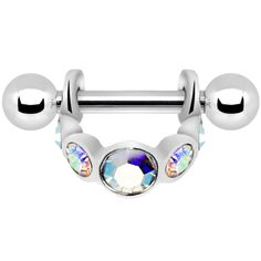 Silver 925 Aurora Gem Loop Mini Cartilage Shield Earring | Body Candy Body Jewelry