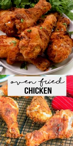 Oven Baked Fried Chicken, Healthy Fried Chicken, Oven Chicken Recipes, Oven Fried Chicken Thighs, Oven Fried Chicken Wings, Fried Chicken Seasoning, Chicken Drumstick Recipes, Fries In The Oven, Air Fryer Chicken Wings