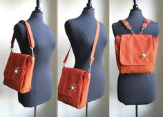 womens backpack purse converts to messenger bag by daphnenen: uses hooks to convert, one strap for shoulder/cross-body bag, 2 straps for backpack