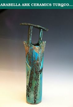 "ARABELLA ARK CERAMICS TURQUOISE RAKU SHRINE VASE. ELEGANT TALL VASE TO USE ALONE OR WITH FLORAL ARRANGEMENTS 20""H X 6""W X3""D."