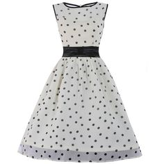 'Candy' Cream Polka Dot Swing Dress (83 CAD) ❤ liked on Polyvore featuring dresses, cream, white trapeze dress, creme dresses, tent dress, polka dot dress and trapeze dress