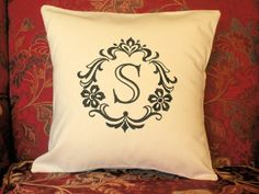 Pillow Cover Damask Initial S Cotton Pillow Cover Monogram