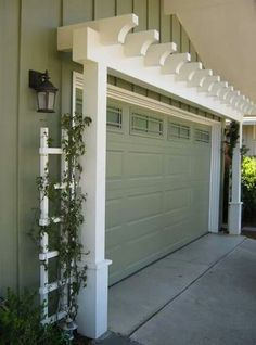 Garage Door Arbor great way to increase curb appeal is with an arbor over the garage door. A manual post hole digger i. Garage Door Arbor great way to increase curb appeal is with an arbor over the garage door. A manual post hole digger i. Door Arbor, Garage Pergola, Garage Trellis, Pergola Patio, Small Pergola, Modern Pergola, Pergola Screens, Pergola Attached To House, Front Porch Pergola