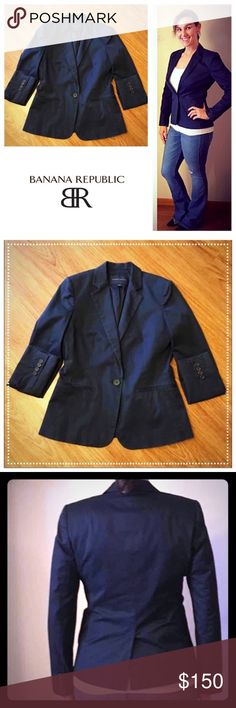Banana Republic navy blue button front blazer 📦Same day shipping (as long as P.O. is open for business). ❤ Measurements are approximate. Descriptions are accurate to the best of my knowledge.  This navy blue blazer is perfect for work or paired with jeans. 1-button closure, slight padding in shoulders for structure & 4 small buttons on sleeves. Foe pockets. Smoke/pet free. No holes/stains. See close up photo for only signs of wear along edges of sleeves/collar. Photos are very close up…