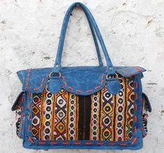 cf325a3e9b Beautiful Indian Handmade blue leather Gypsy bohemian banjara bags Ethnic  leather doctor traveling bag women hand