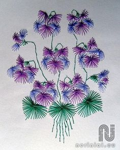 The Latest Trend in Embroidery – Embroidery on Paper - Embroidery Patterns Embroidery Cards, Hand Embroidery Flowers, Embroidery Stitches, Embroidery Patterns, String Art Tutorials, String Art Patterns, Stitching On Paper, Border Embroidery Designs, Sewing Cards