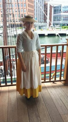 1770s yellow and blue striped linen jacket with yellow petticoat