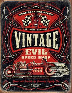 Vintage Evil Speed Shop Steel Sign - Free Shipping on Orders Over $99 at Genuine Hotrod Hardware
