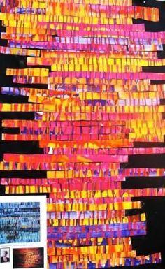 Coulures et collage de bandes horizontales ( à la manière de Boutten)