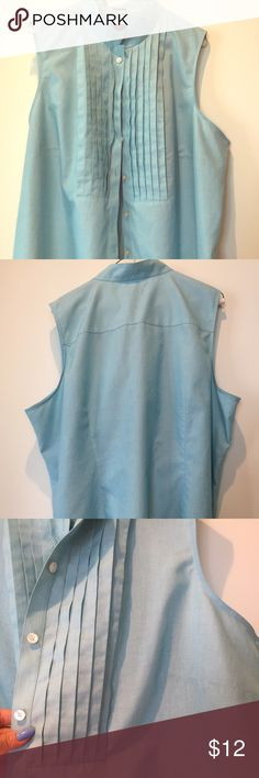 Talbots Woman size 22 sleeveless blue blouse Classy light blue top. 100% cotton and wrinkle free makes it great for work/ travel. Talbots Tops Blouses